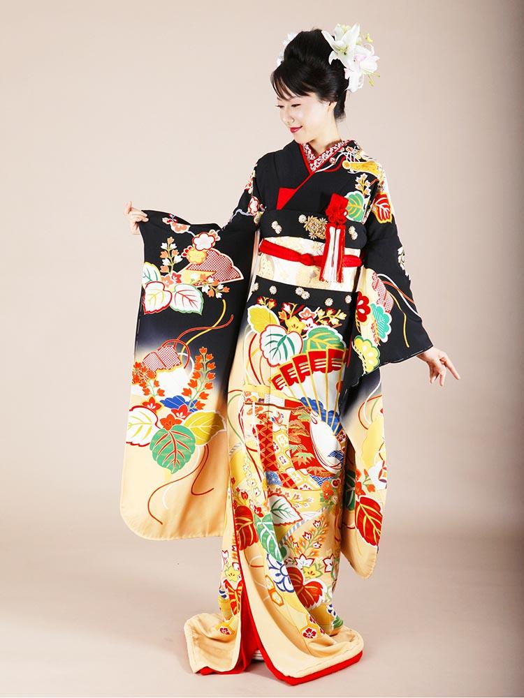 【高級な黒引き振袖レンタル】hikifurisode-1 花嫁衣裳 黒地に桐竹と檜扇・背の高い方向けサイズ