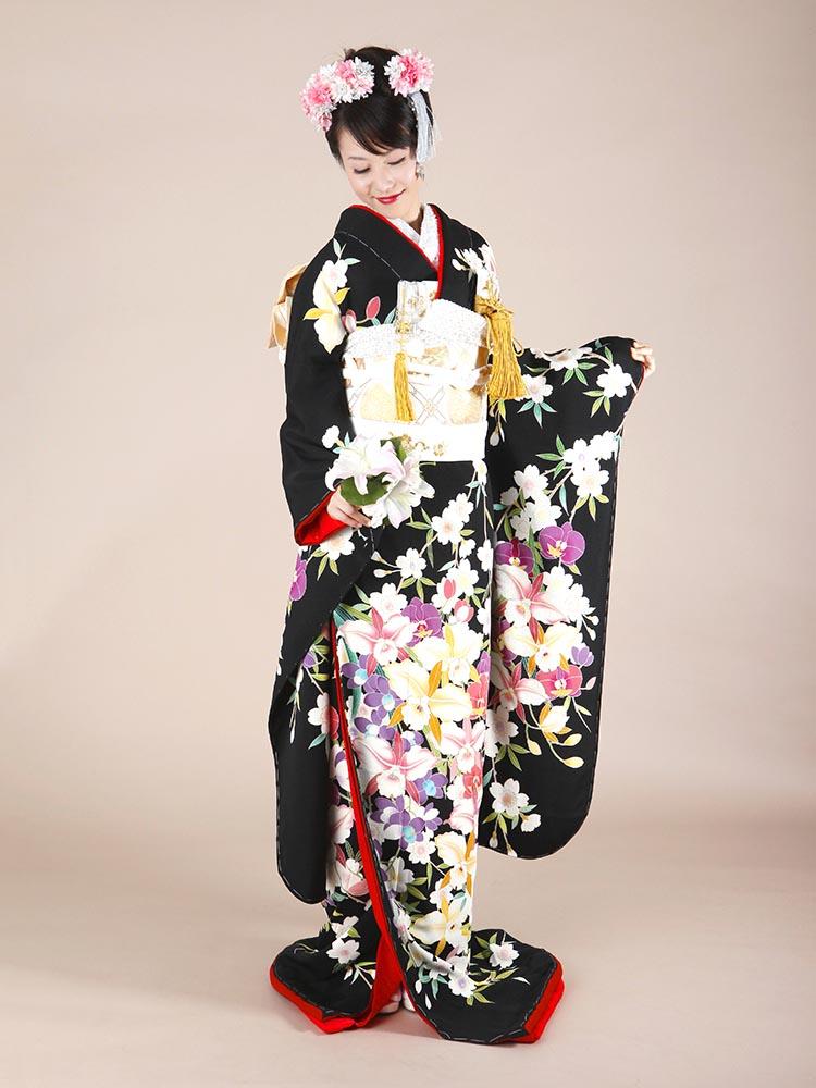 【黒引き振袖レンタル】hikifurisode-3 洋蘭・しだれ桜柄の黒引き振袖レンタルフルセット