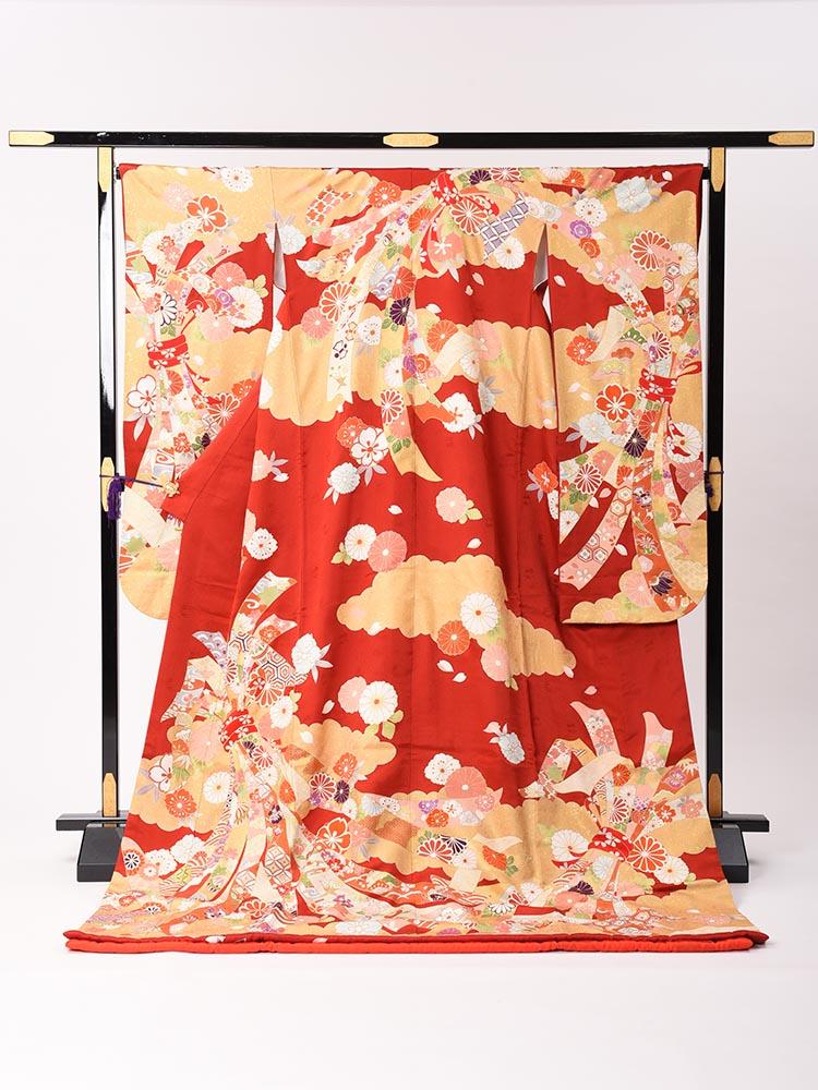 【高級引き振袖レンタル】hikifurisode-6・赤色ベース・熨斗と華・標準サイズ