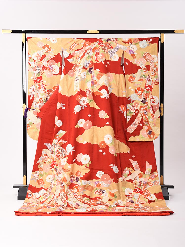 【高級引き振袖レンタル】hikifurisode-6・赤色ベース・熨斗と華・標準サイズ(158cm中心)