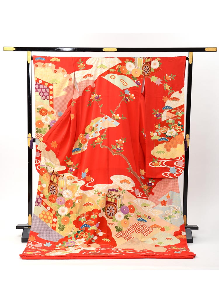 【高級な赤い引き振袖レンタル】hikifurisode-8 花嫁衣裳・朱赤で桃山調の柄・標準サイズ