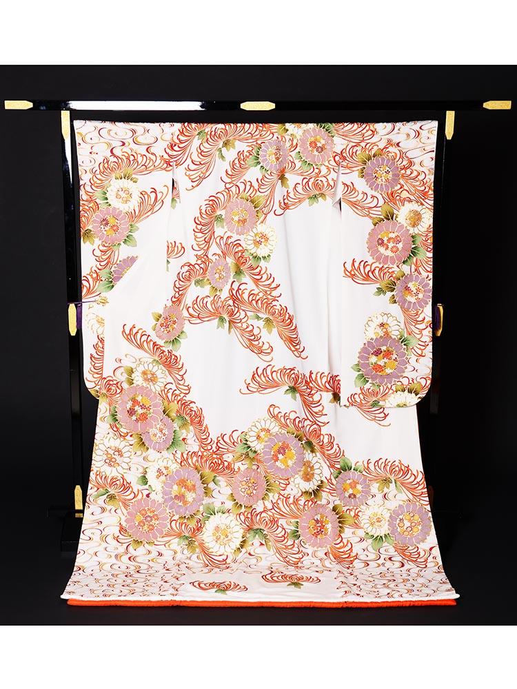 【高級引き振袖レンタル】hikifurisode-9 花嫁衣裳・白地・乱菊の柄・白引き振袖フルセットレンタル