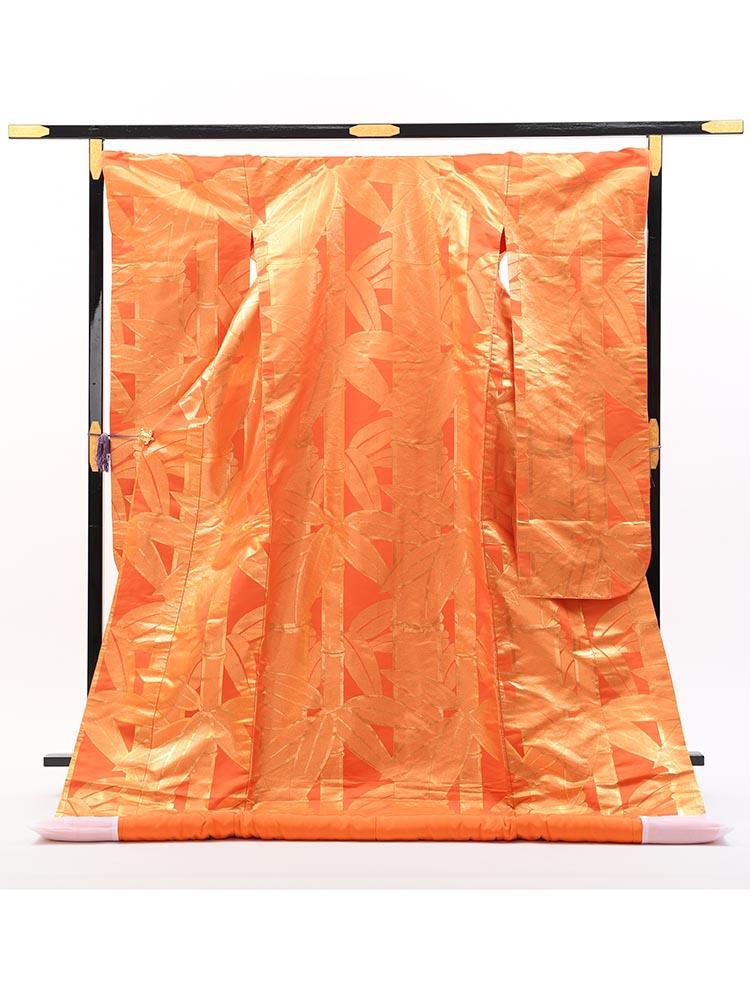 【高級色打掛レンタル】uchikake-39 京都の一流織物メーカーの色打掛 竹の柄 フリーサイズ