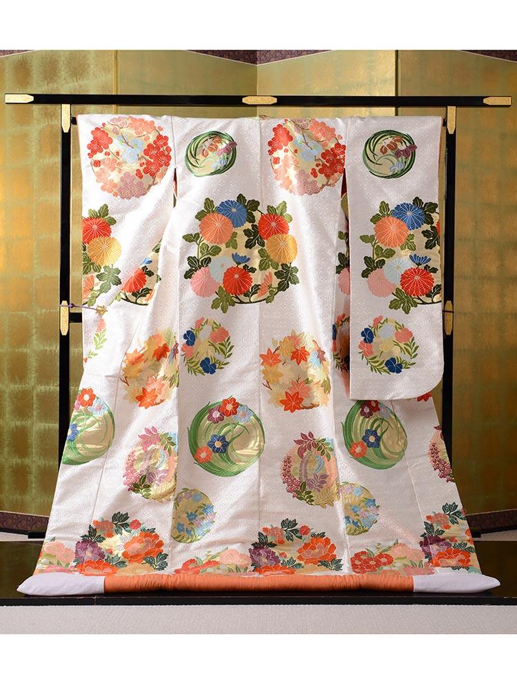 【最高級の色打掛レンタル】uchikake-40 山口美術織物謹製 「亀甲花丸文唐織打掛」 フリーサイズ 花丸文