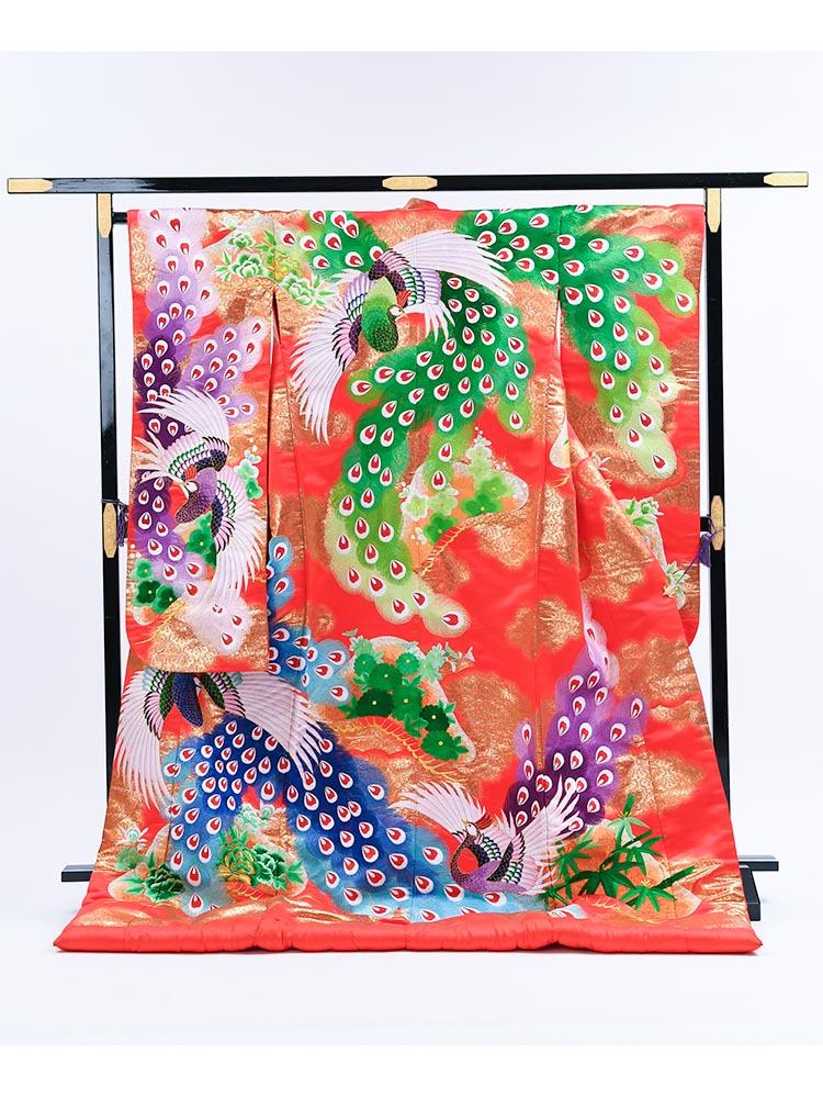 【高級色打掛レンタル】uchikake-58 赤地に孔雀・竹 「雅」 フリーサイズ