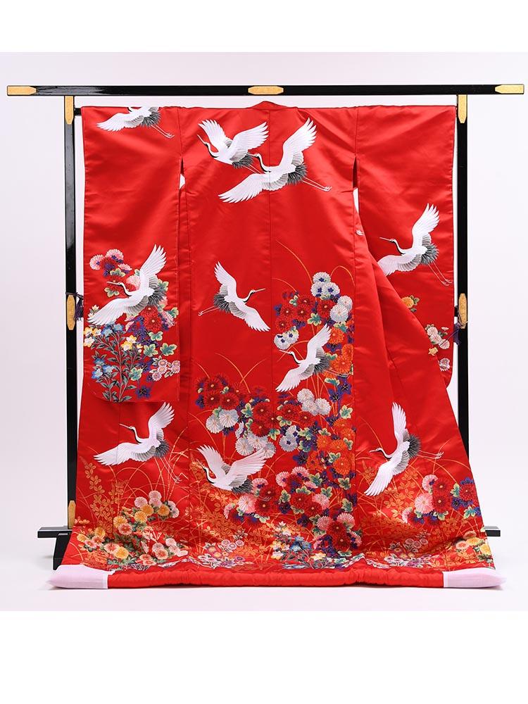 【高級色打掛レンタル】uchikake-60 赤地に鶴・秋草花  サイズ 鶴