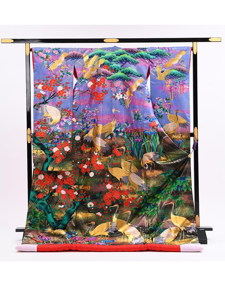 【高級色打掛レンタル】uchikake-61 紫 鶴に松の色打掛フルセットレンタル