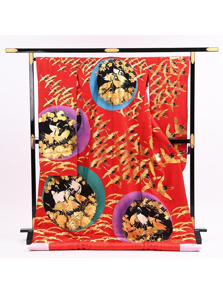 【高級色打掛レンタル】uchikake-62 赤地に鶴・露芝 サイズ 鶴