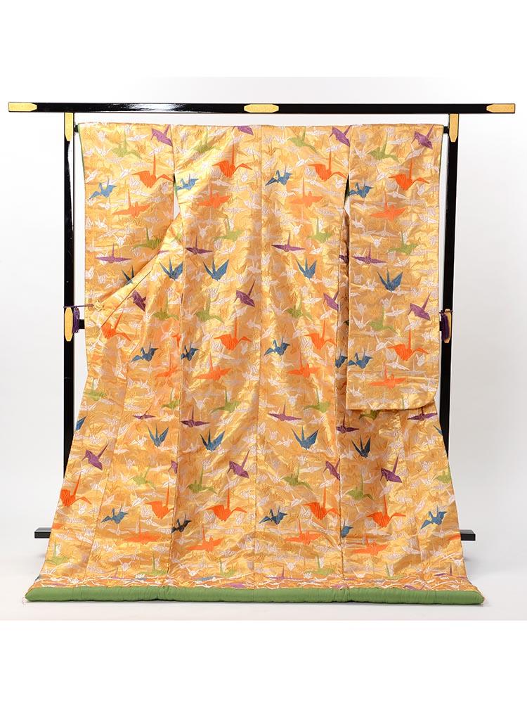 【高級色打掛レンタル】uchikake-8 山口美術織物謹製 「豪華金地の千羽鶴文様」 フリーサイズ 千羽鶴
